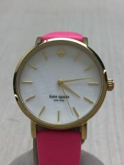 クォーツ腕時計/アナログ/レザー/WHT/PNK/ベルト色剥げ有