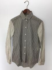 長袖シャツ/34/コットン/ホワイト/ストライプ/袖切替ストライプシャツ