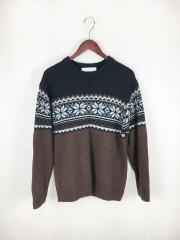 セーター(厚手)/S/ウール/BLK/総柄
