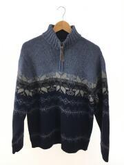 セーター(厚手)/M/ウール/BLU/ノルディック/ハーフジップ