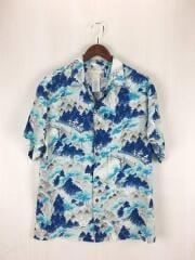 半袖シャツ/XL/レーヨン/BLU/総柄/開襟シャツ/アロハ/和柄