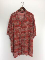 半袖シャツ/--/レーヨン/RED/総柄/ラブポエムプリントオーバーオールバケーションシャツ