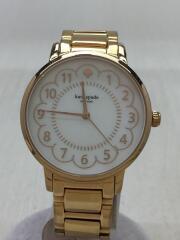 クォーツ腕時計/箱付/アナログ/ステンレス/WHT/GLD/0868