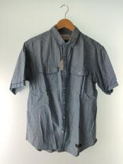 HEAD LIGHT.ST/C-SHIRT.SS/ネップシャンブレーシャツ/ロゴ刺繍/半袖/L/コットン