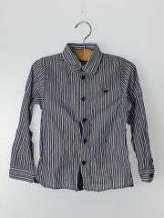 ロゴ刺繍/テーピング/長袖シャツ/112cm/5A//コットン/BLU/ストライプ