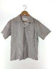 イージーケアオープンカラーシャツ/DR95-13N014/半袖/開襟/38/コットン/WHT/ストライプ