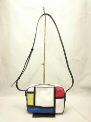 ロゴプリント/カラー切替デザインショルダーバッグ/レザー/マルチカラー