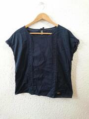 18SS/袖刺繍デザイン/ゴールドロゴプレート/半袖カットソー/38/コットン/NVY