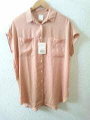 Wポケットサテンロングシャツ/19050200209030/ノースリーブシャツ/FREE/ポリエステル/PNK