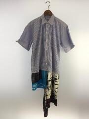 19SS/SCARF SHIRT DRESS/オーバーサイズ/シャツドレス/34/コットン/BLU/ストライプ