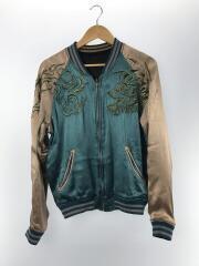 Souvenir Jacket/スカジャン/M/レーヨン/BLU/リバーシブル