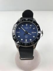 クォーツ腕時計/アナログ/キャンバス/NVY/BLK
