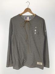jersey striped snap longsleeve/L/ボーダー