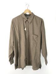 TWO TONE L/S Shirt/長袖シャツ/one/コットン/BRW/無地/中古