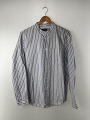スタンドカラーシャツ/長袖シャツ/S/コットン/BLU/ストライプ/中古