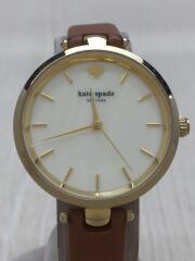 ケイトスペード/クォーツ腕時計/アナログ/レザー/GLD/BRW/中古