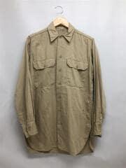 40-50s/長袖シャツ/--/コットン/KHK/ガスフラップ切断ダメージシミ多数