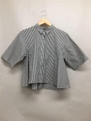 ストライプフレアーシャツ/半袖ブラウス/--/コットン/ストライプ