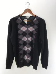 セーター(薄手)/L/ウール/BLK/チェック/CA09735
