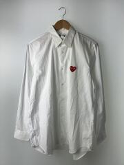 長袖シャツ/M/コットン/WHT/AZ-B002/赤ハートワッペン