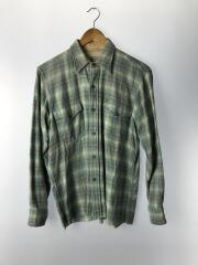 70s/ネルシャツ/--/ウール/BLU/チェック/襟汚れ有