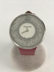 クォーツ腕時計/アナログ/レザー/WHT/PNK/替えベルト2本/Crystalline