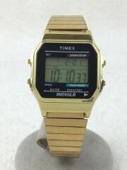 タイメックス/クォーツ腕時計/デジタル/ステンレス/BLK/GLD