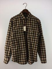 長袖シャツ/L/コットン/BRW/G1M25-210-55/ヘリンボーンチェックWポケットシャツ