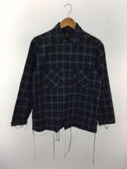 cutoff shirts/長袖シャツ/S/ウール/NVY/チェック