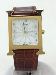 クォーツ腕時計/アナログ/レザー/ホワイ/ブラウン/HウォッチGP/ゴールド/替えベルト付/Hウォッチ H WATCH