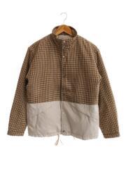 切替キルティングジャケット/NUC82BLS030YG/S/ポリエステル/ブラウン/グレンチェック