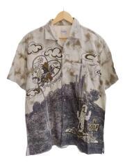 オープンカラーシャツ/開襟シャツ/テンセル/半袖シャツ/4/コットン