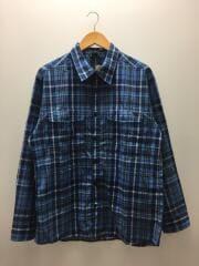 長袖シャツ/XL/コットン/BLU/チェック/ブルー/青