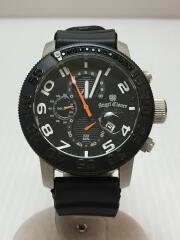クォーツ腕時計/アナログ/ラバー/BLK/BLK/SC46