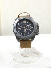 クォーツ腕時計/アナログ/レザー/BLK/CML/W0659G4