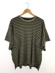 Tシャツ/2/コットン/KHK/ボーダー/オーバーサイズTシャツ