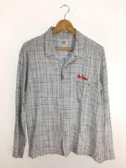 オープンカラーシャツ/長袖シャツ/L/--/BLU/チェック/CR01-01K5-SL02