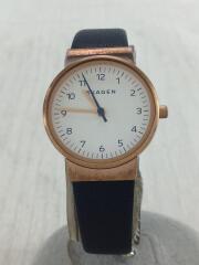 スカーゲン/クォーツ腕時計/アナログ/レザー/ホワイト/ネイビー/SKW9013