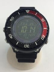 セイコー/ソーラー腕時計/デジタル/ラバー/ブラック/黒/S802-00A0