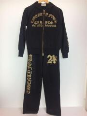 黒金ラメ/袖ロゴ/セットアップ/150cm/ポリエステル/ブラック