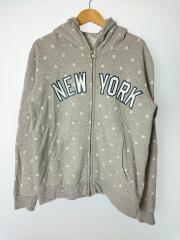 ニューヨークヤンキース/ジップパーカー/M/コットン/グレー/総柄/mm06-nyk-0031
