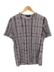 theory/CLEAN TEE_TYEDYE GRID JSY/Tシャツ/XS/コットン/GRY/総柄