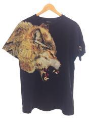 オオカミプリント/Tシャツ/M/コットン/BLK