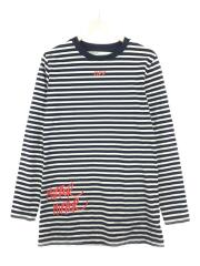 長袖Tシャツ/XS/コットン/BLK/ボーダー/17SS MIRROR STRIPED LS/ブラック