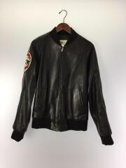 GUCCI/Black Leather Bomber Jacket With Patch/46/羊革/BLK