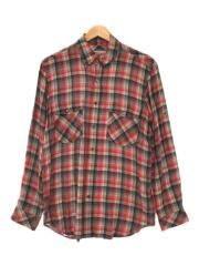 beautiful people/ombre check B.D.shirt/L/レーヨン/RED