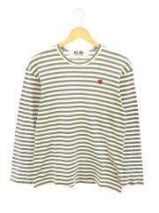 長袖Tシャツ/L/コットン/GRY/AZ-T218/PLAY SMALL RED HEART STRIPED L/S