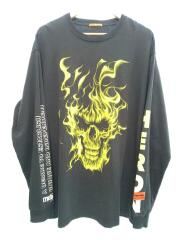 ファイヤースカルプリント長袖Tシャツ/長袖Tシャツ/L/コットン/BLK/HMAB002F19600015