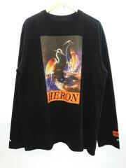 LS T-SHIRT REG OS HERON TIMES/長袖Tシャツ/M/コットン/BLK