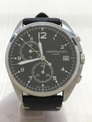 クォーツ腕時計/アナログ/レザー/BLK/BLK/H765120/KHAKI